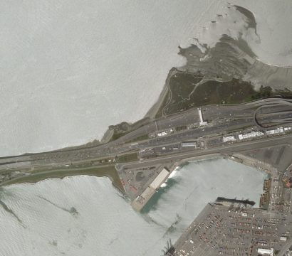 Here's a view of the San Francisco Bay bridge on the afternoon of Monday, March 16, 2020, following the order for residents to shelter-in-place to help stop the spread of COVID-19. © Planet Labs Inc. All Rights Reserved.