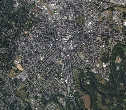 The Conestoga River meanders along the edge of historic Lancaster, Pennsylvania in this SkySat image collected on September 21, 2019. © 2019, Planet Labs Inc. All Rights Reserved.