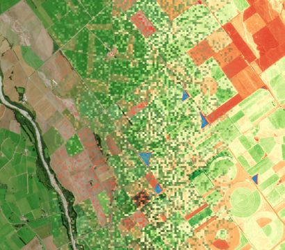 True color (left) and Chlrophyll Index red edge (right) data for an area of pasture on New Zealand's South Island, collected on March 21, 2020. © 2020, Planet Labs Inc. All Rights Reserved.