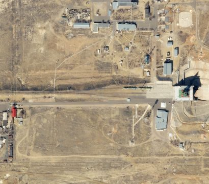 This SkySat image collected on March 23, 2020, shows Gagarin's Start, the launchpad that kicked off the Space Age. © 2020, Planet Labs Inc. All Rights Reserved.