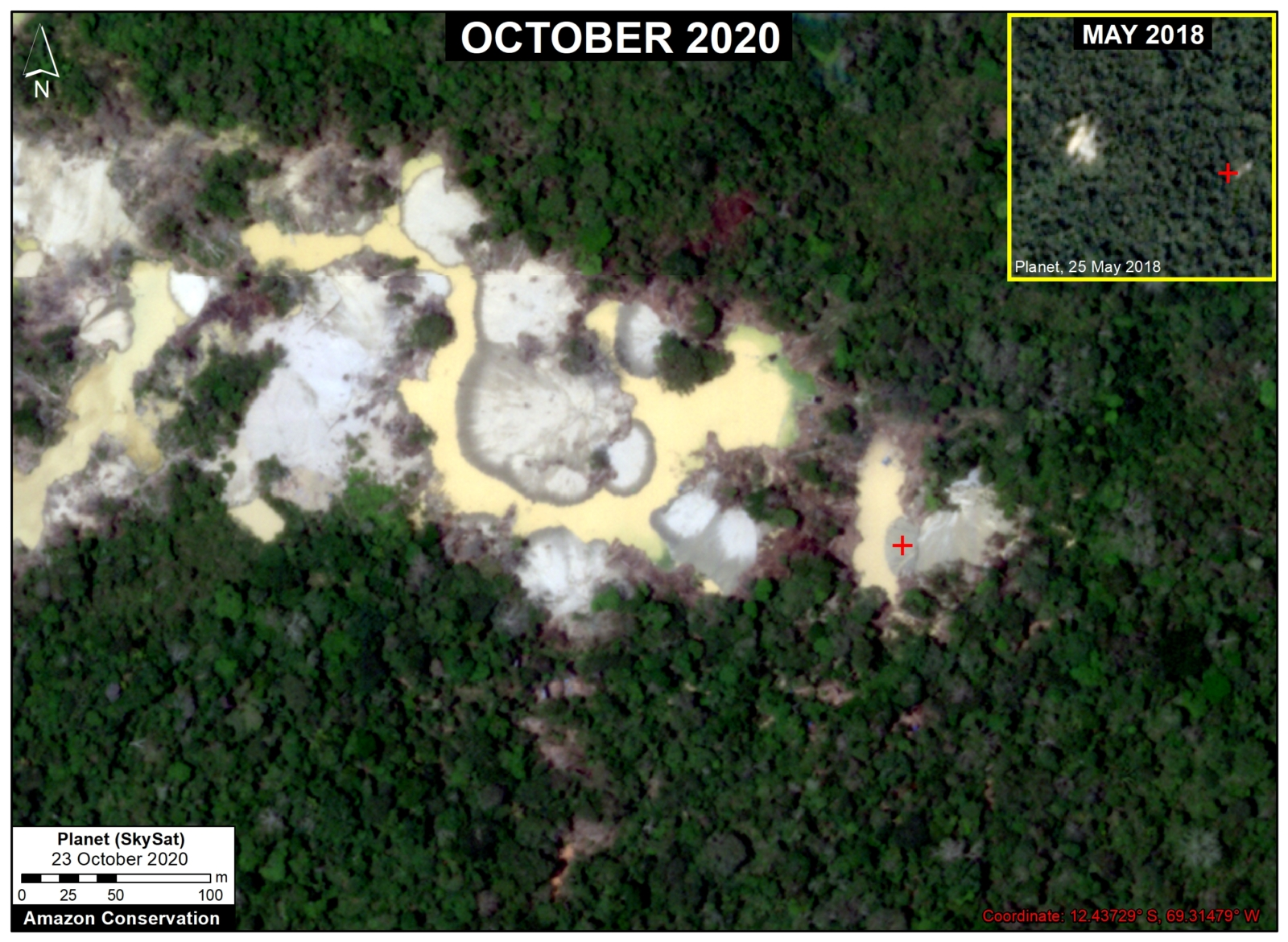 Expansion of new gold mining areas into the primary rainforests near the Pariamanu River (Madre de Dios region). © 2020, Planet Labs Inc. All Rights Reserved.