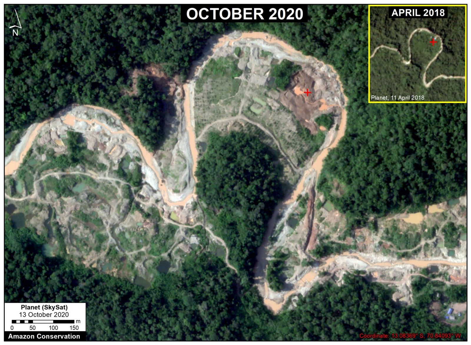 Recent expansion of gold mining deforestation in the buffer zone of Amarakaeri Communal Reserve (Cusco region). © 2020, Planet Labs Inc. All Rights Reserved.