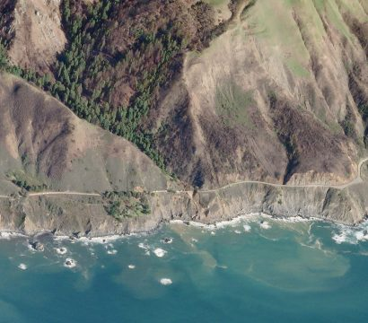 Oblique view of California State Route 1 in Big Sur, California. © 2021, Planet Labs Inc. All Rights Reserved.