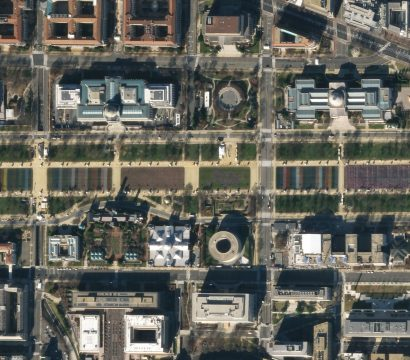 "Planet SkySat captured the construction of the ""Field of Flags"" on the National Mall in Washington, DC on January 19, 2021 © 2021, Planet Labs Inc. All Rights Reserved."