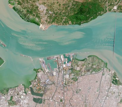 Madura Straight in Surabaya, Indonesia captured by a Planet Dove satellite. © 2020, Planet Labs Inc. All Rights Reserved.
