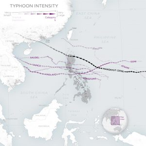 Map of Typhoons that made landfall in the Philippines during the 2020 typhoon season. The opacity of the typhoon path corresponds to the intensity of the storm, while the width indicates the relative radius of the storm. © 2020, Planet Labs Inc. All Rights Reserved.