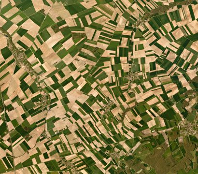 "In central France—just outside of Troyes—pastures, fields, and forestland mix, creating a ""bocage"" landscape. © 2016, Planet Labs Inc. All Rights Reserved."