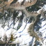 Dove satellite imagery shows the after of an apparent rockslide (lower-right) and debris flow into the Ronti Gad Valley. In the February 7th image, a large dust cloud from the event remains visible. © 2021, Planet Labs Inc. All Rights Reserved.