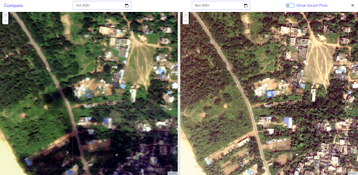 BLUIS' GIS dashboard comparison of two images that capture an unauthorized land-use change indicated by the blue square. Credit: Vassar Labs