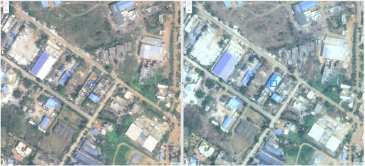 The comparison of past and current imagery captures an unauthorized new building indicated by the blue square identifying illegal land use. Credit: Vassar Labs