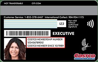 Costco membership card example
