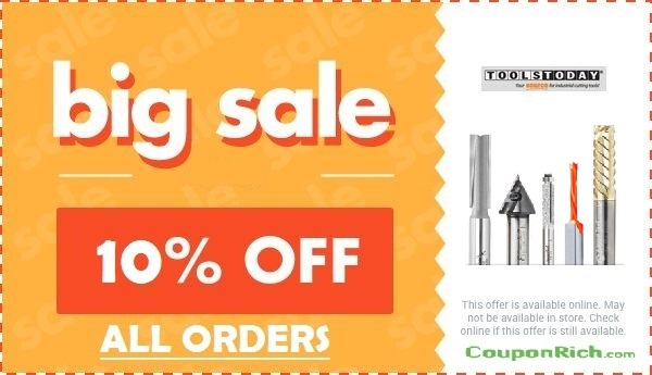 Toolstoday offer: 10% off all orders
