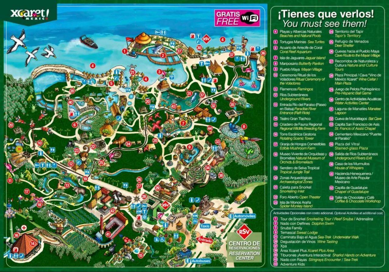 Xcaret park map