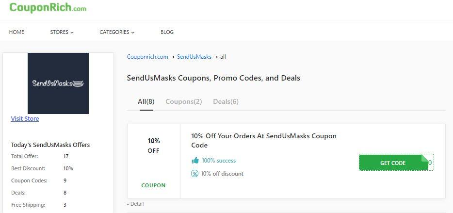 It is super easy to use SendUsMasks code