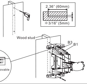 Mounting on the wood studs