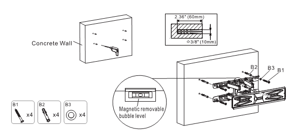 Alternative A: Mounting on solid concrete