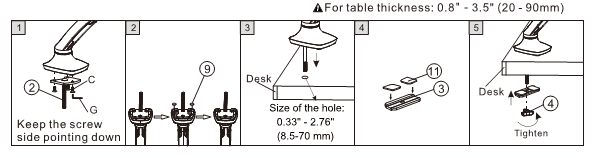 Option B: Install the bracket using screw through hole in the desk