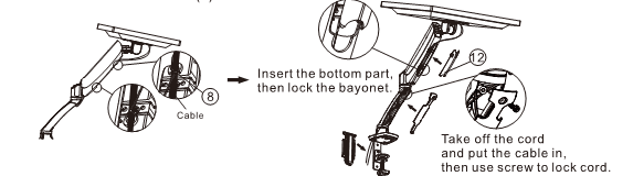 Fleximounts TV monitor arm instructions - Step 4: Use cable management system