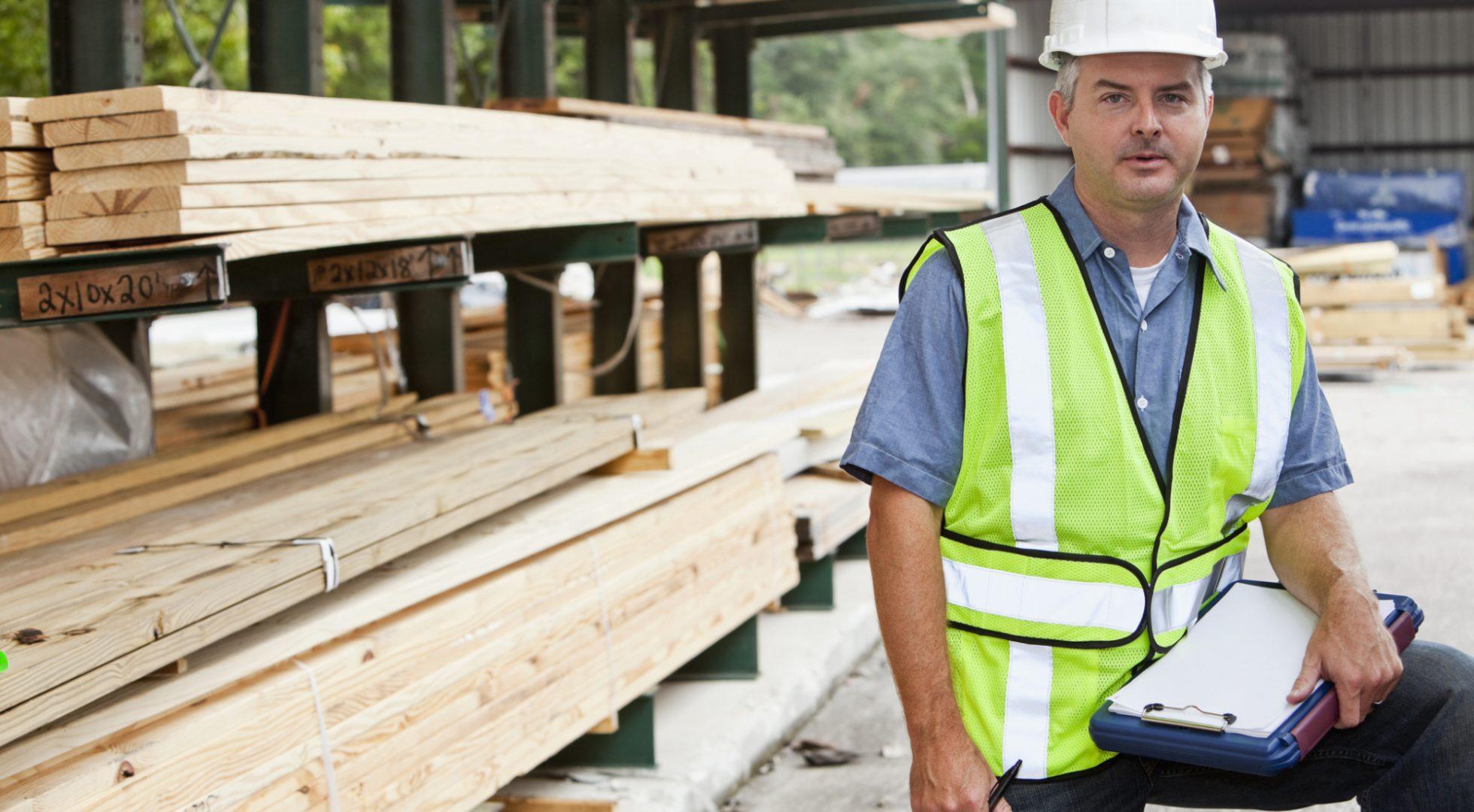 Man working in lumber yard
