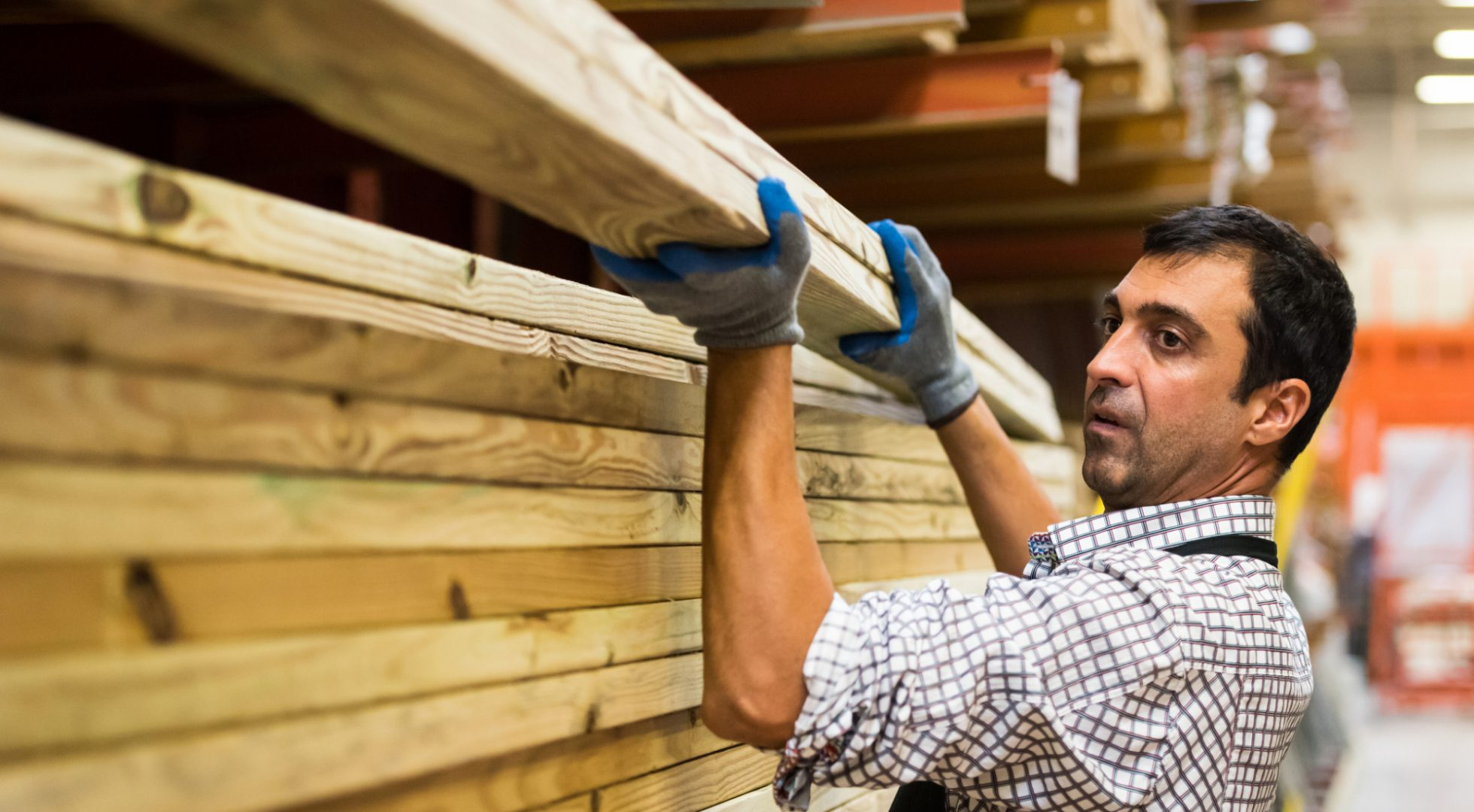 Man working at a lumber warehouse