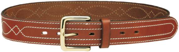 1.5'' Leather Gun Belt w. Central Stitching