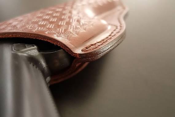 Basket Weave Leather Belt Gun Holster