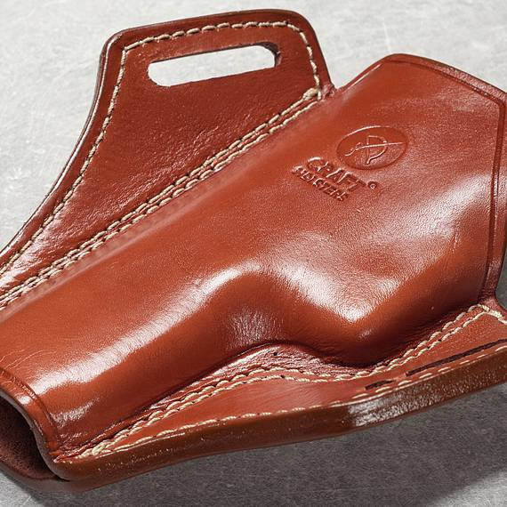 Open Top Leather Pancake Holster - Panther