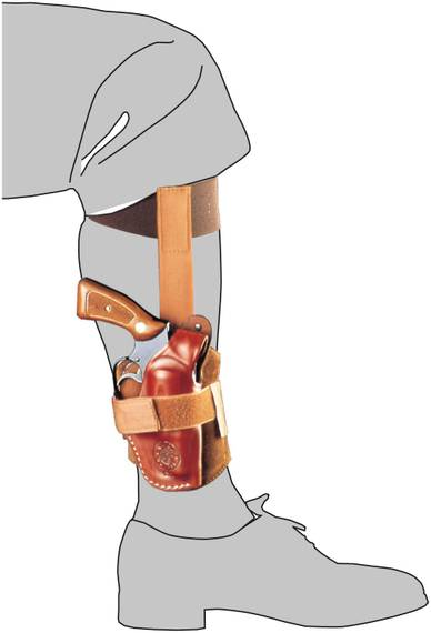 Leather Ankle Holster, Lowered Position