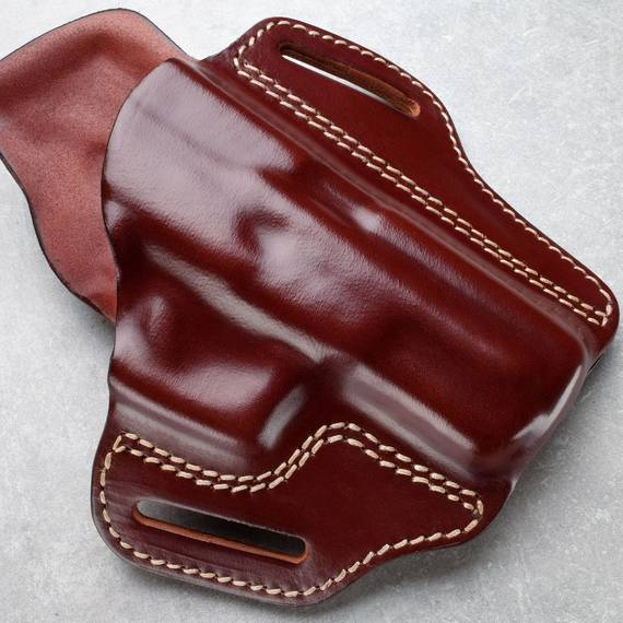 Leather Open Top Pancake Holster w. Sweat Guard