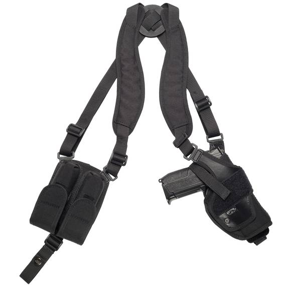Nylon Vertical Roto Shoulder Holster w Double Mag Pouch