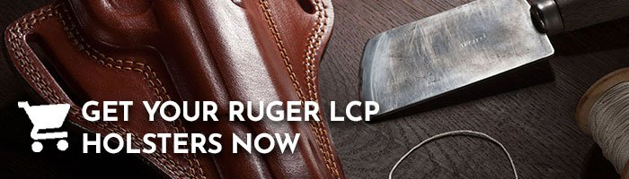 Leather holster lying on a wooden table next to a leather knife and thread with a writing to get a Ruger LCP holster.
