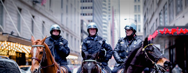 3 horse-mounted police officers