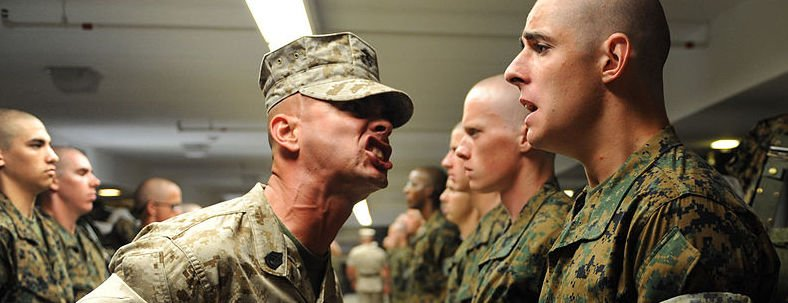 Military drill instructor at work