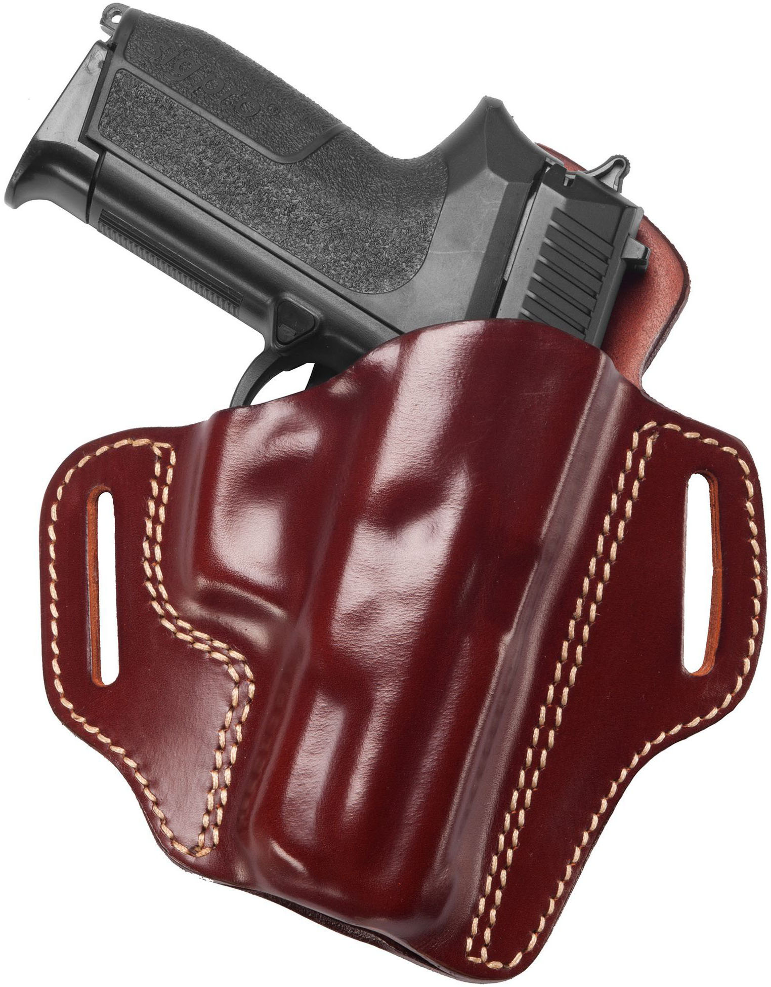 Leather Open Top Pancake Holster w  Sweat Guard