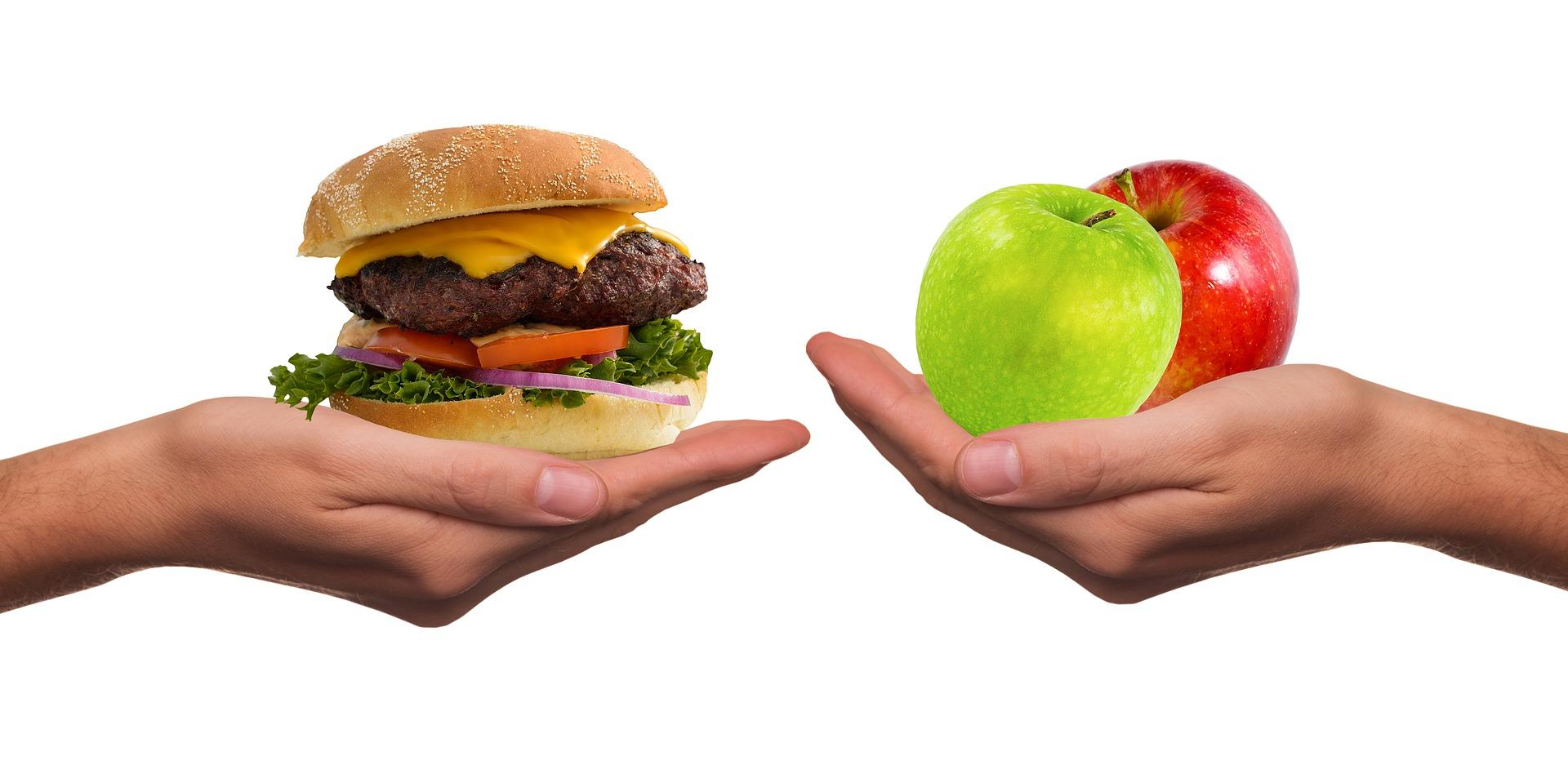 Comida sana versus comida rápida