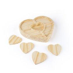 Petisqueira de Madeira Ecológica Coração com Porta Copos