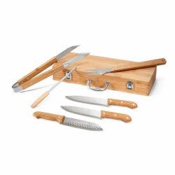 Kit Churrasco com 6 peças e Estojo de Bambu