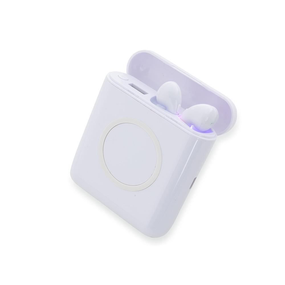 Carregador Portátil Wirelles com Fones de Ouvido Bluetooth