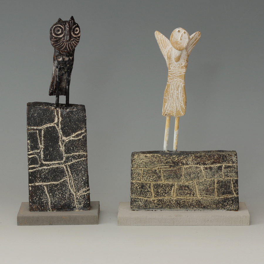 John-Maltby-Ceramic-Sculpture-Angel-and-owl
