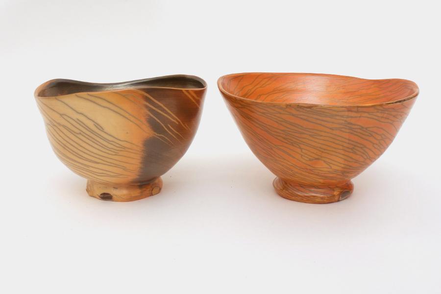 Pair of ceramic tea bowls by Dalloun