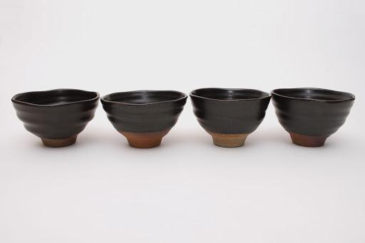 Sandy Lockwood Set of 4 Small Black Ceramic Bowls