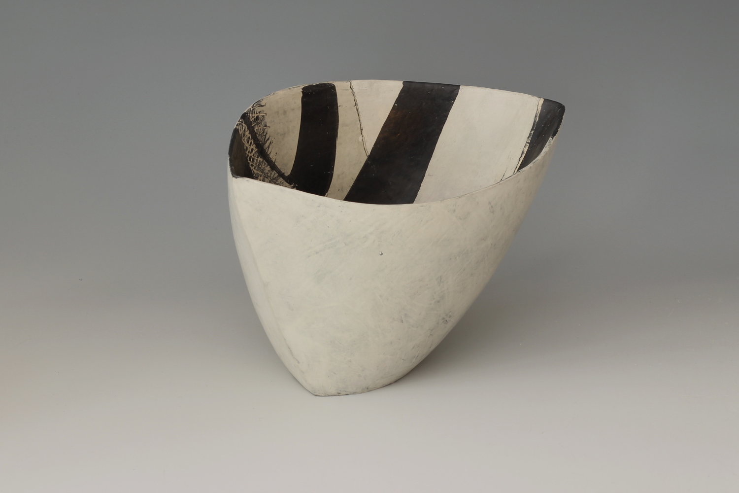 Carolyn Genders Ceramic Earthenware Vessel 'Black & White Chevron ll'