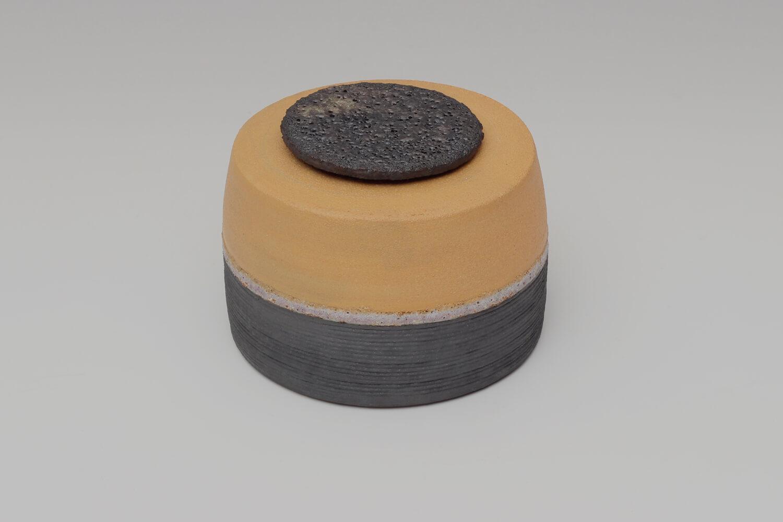 Rosalie Dodds Ceramic Ochre & Black Jar 03