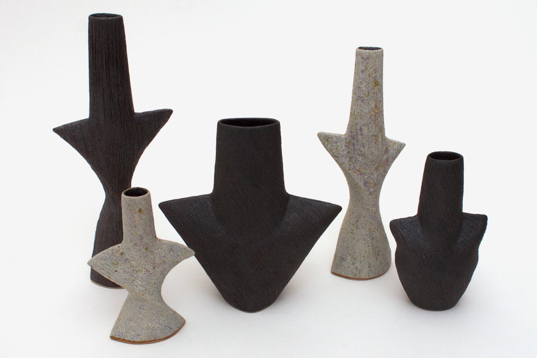 Chris Carter Ceramic Waisted Black Mask Pot 046