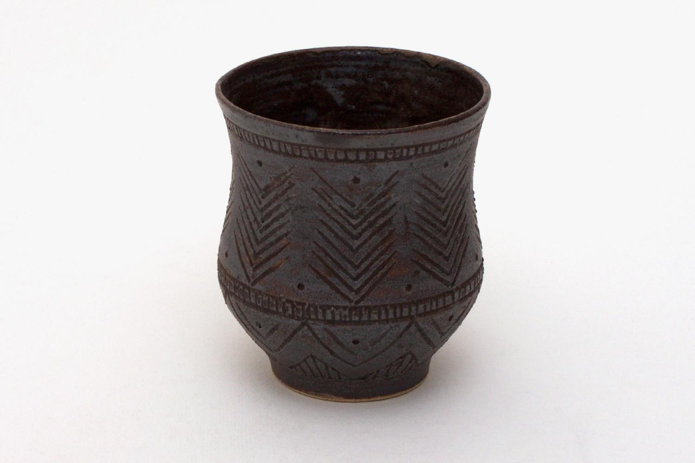 Chris Carter Carved Ceramic Yunomi 030