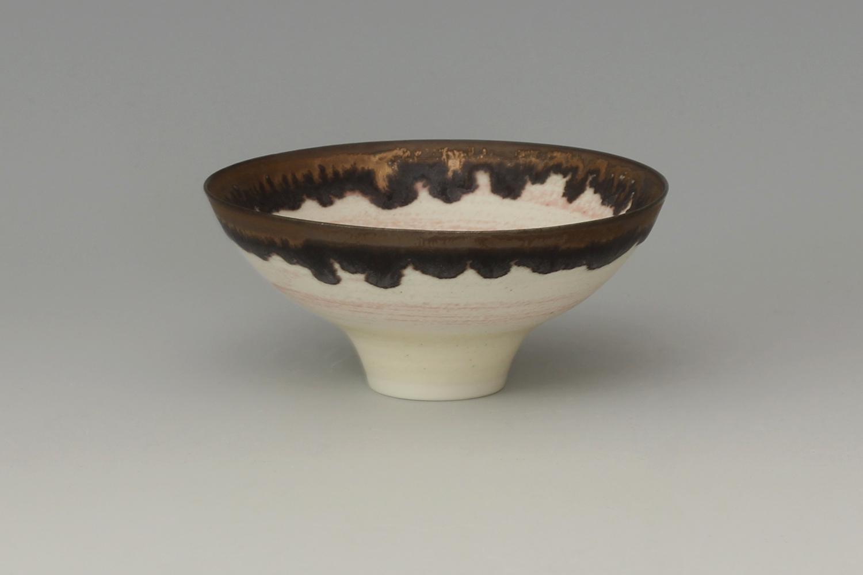 Peter Wills Ceramic Pale Pink & Bronze Bowl 188