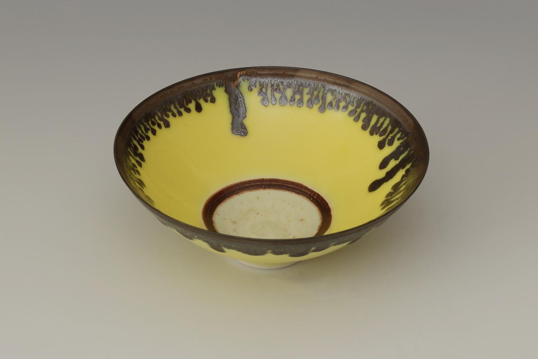 Peter Wills Ceramic Yellow & Bronze Bowl 131