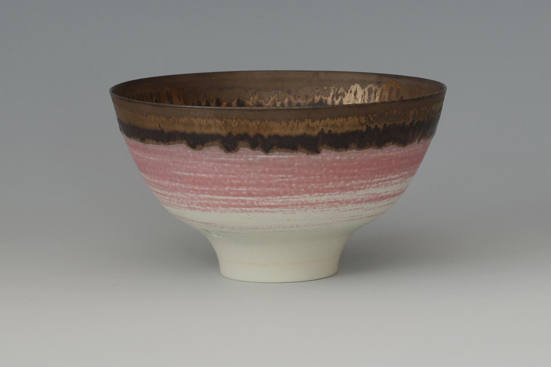 Peter Wills Ceramic Pink & Bronze Bowl 183