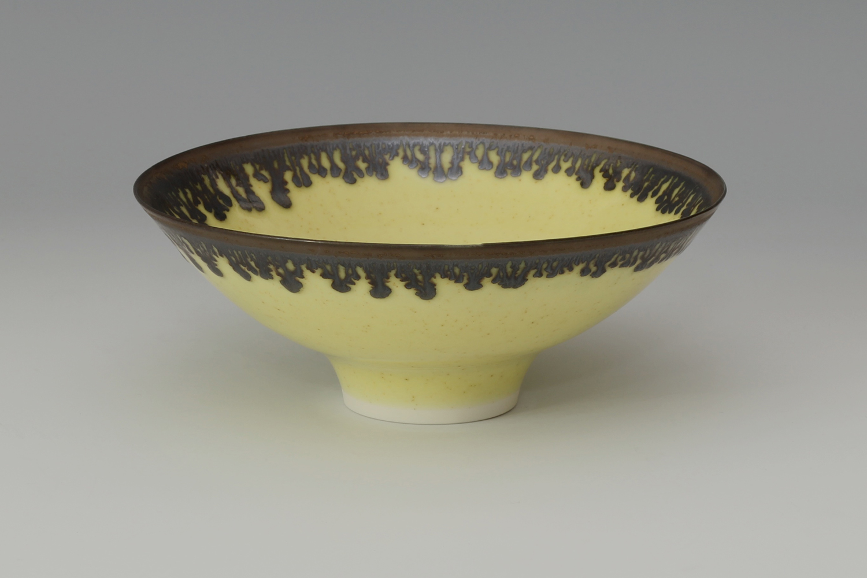 Peter Wills Ceramic Yellow & Bronze Bowl 165