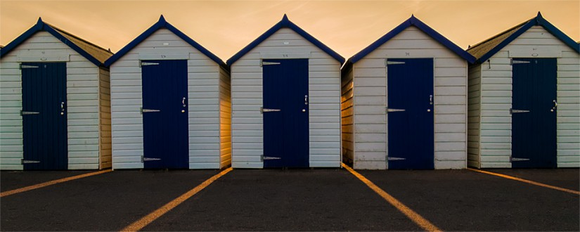 Evening beach huts
